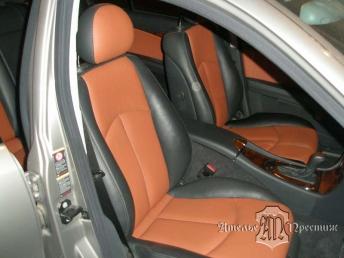 Перетяжка части сидений и дверных вставок Mercedes C200 (Мерседес) натуральной кожей