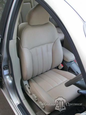 Перетяжка сидений, дверных вставок, части панели и руля Nissan Primera (Ниссан Примера) экокожа Hortica