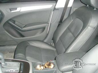 Перетяжка сидений и дверных вставок Audi A4 (Ауди А4) 2010 натуральная кожа