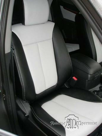 Перетяжка сидений и дверных вставок Hyundai Santa Fe (Хендай Сантафе) экокожа