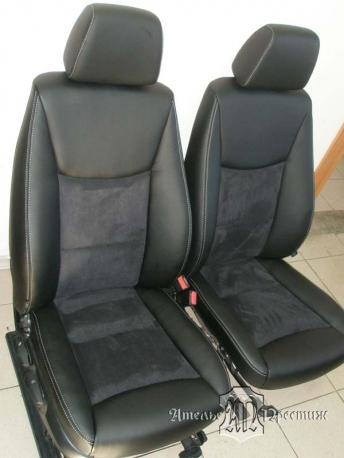 Перетяжка сидений и дверных вставок BMW (БМВ) 320 2007 экокожа и алькантара